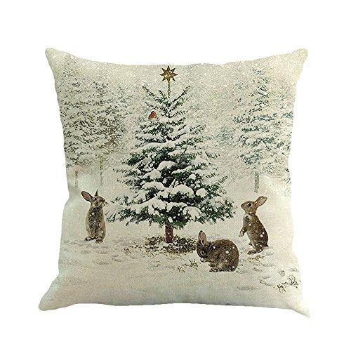 Fossrn Navidad Fundas Cojines 45x45 Patrón de Ciervo/Conejo/Escena de Nieve Decoracion Hogar Casa Sofa Jardin Cama (E)