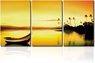 "Picabala Dust Lakeview Wall Painting Landscape Framed Canvas Prints Boat on Sea Modern Wall Art Decorative Picture for Home-20""x28""x3pcs"
