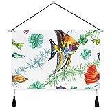 VINISATH Póster colgante de lienzo,Acuarela de patrones sin fisuras acuario peces plantas perchas decorativas para colgar en la pared con pergamino para el hogar,sala de estar,dormitorio,hotel