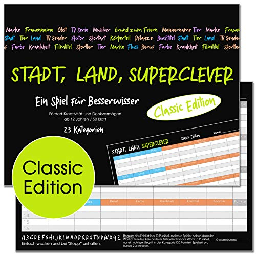 Stadt, Land, Superclever (Classic Edition). Stadt, Land, Fluss Jugendliche und Erwachsene (ab 12 Jahren). Block DIN A4, 50 Seiten (20564)