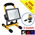 [15W 24LED] Lanfu Portable Waterproof Work Light Spotlights Outdoor Camping Floodlights, Built-in Rechargeable Lithium Batteries (with 2 USB Ports and Special SOS Modes-IP65 4400mAh)