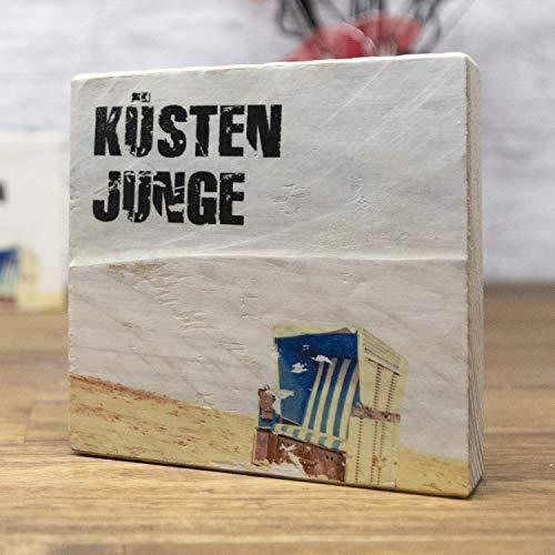 elbPLANKE - Küstenjunge | 9,5x9,5 cm | Holzbilder von Fotoart-Hamburg | 100% Handmade aus Holz (Palette/Kiefer/Fichte/Birke)