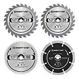 Enertwist 4-1/2 Inch Compact Circular Saw Blade Set, Pack of 4-Pieces TCT/HSS/Diamond Saw Blades Assorted for...