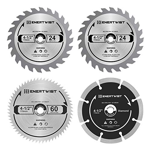 Enertwist 4-1/2 Inch Compact Circular Saw Blade Set, Pack of 4-Pieces TCT/HSS/Diamond Saw Blades Assorted for Wood/Plastic/Metal/Tile Cutting, 3/8' Arbor, ET-CSA-4