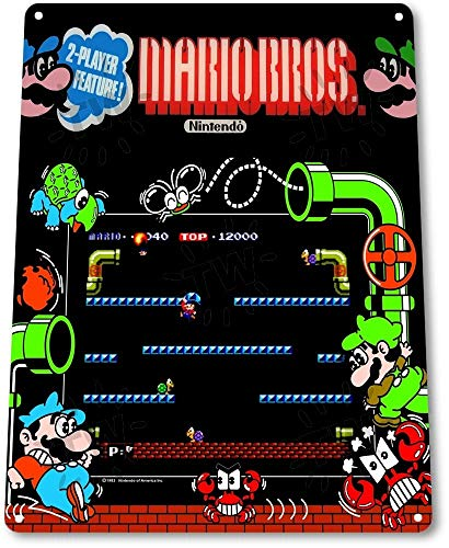 SIGNCHAT Cartel de Lata A837 Mario-Bros Arcade Marquee Shop Game Room Art...