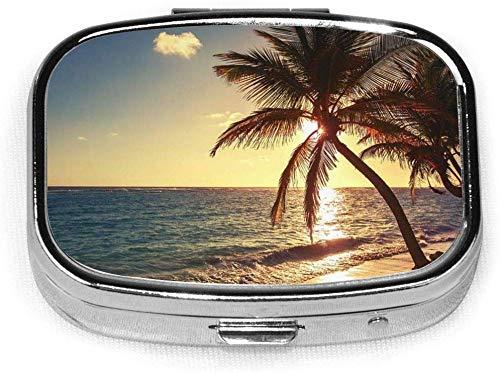 2er-Set, quadratische Pillenhülle mit 2 Fächern, tragbare Reise-Pillenbox Blaue Karibik-Palme Tropischer Strand Sonnenaufgang Schussorange