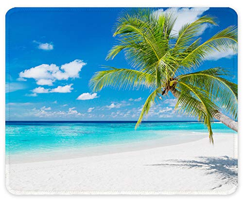 Auhoahsil Mouse Pad, Square Beach Style Anti-Slip Rubber Mousepad with Durable Stitched Edges for Gaming Office Laptop Computer PC Men Women Kids, Cute Custom Design, Beach and Coconut Trees Pattern