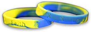 50 Pack Down Syndrome Awareness Blue & Yellow Silicone Bracelets - Adult Size - (50 Bracelets - Wholesale) (SILB-10)