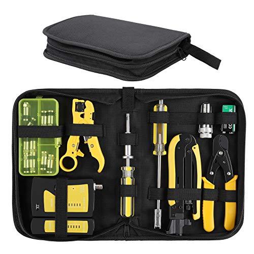 FIXKIT Netzwerk Werkzeug Set mit KoaxialkabelAbisolierzange, 10 stück F-Stecker/Kompressionsstecker für RG6/RG59/RG11