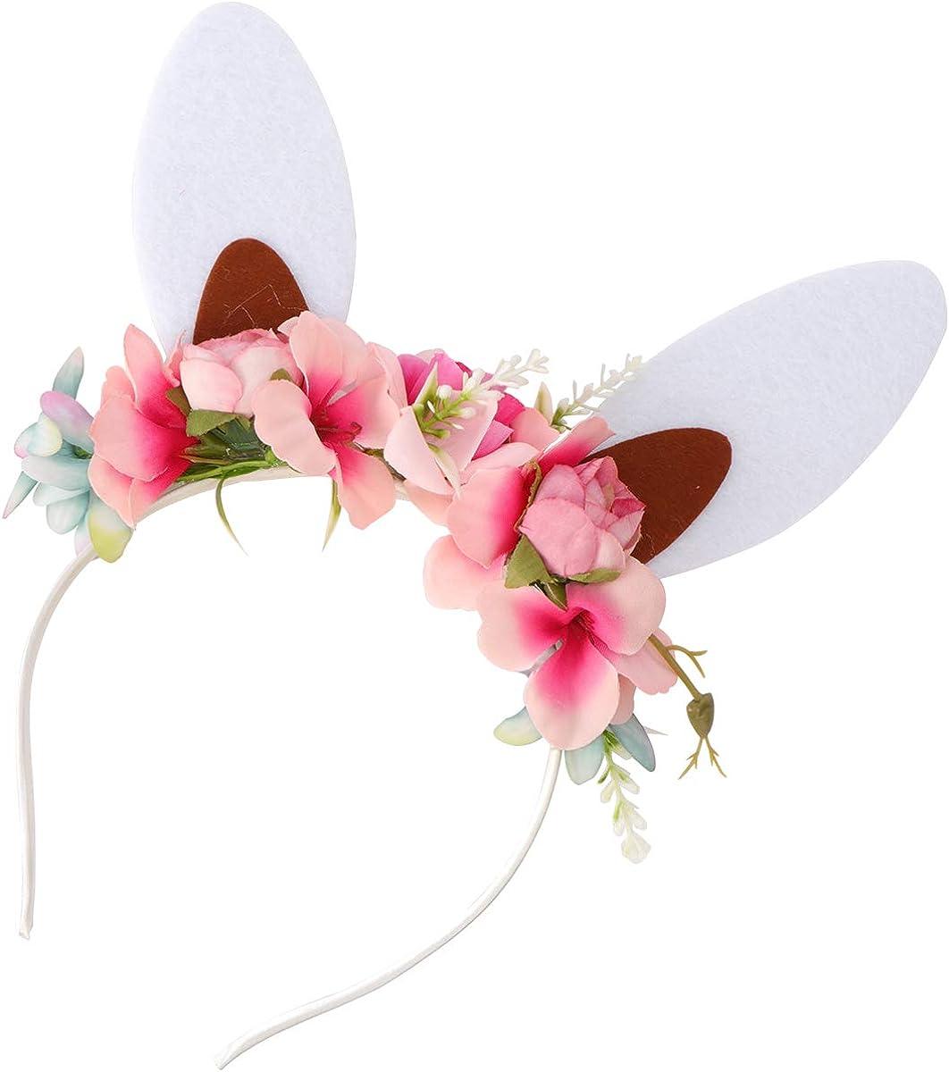 FUNZZY Rabbit Ear Headband Creative Flower Hair Hoop Kids Hairdress Lovely Headwear Photo Props for Women Girls