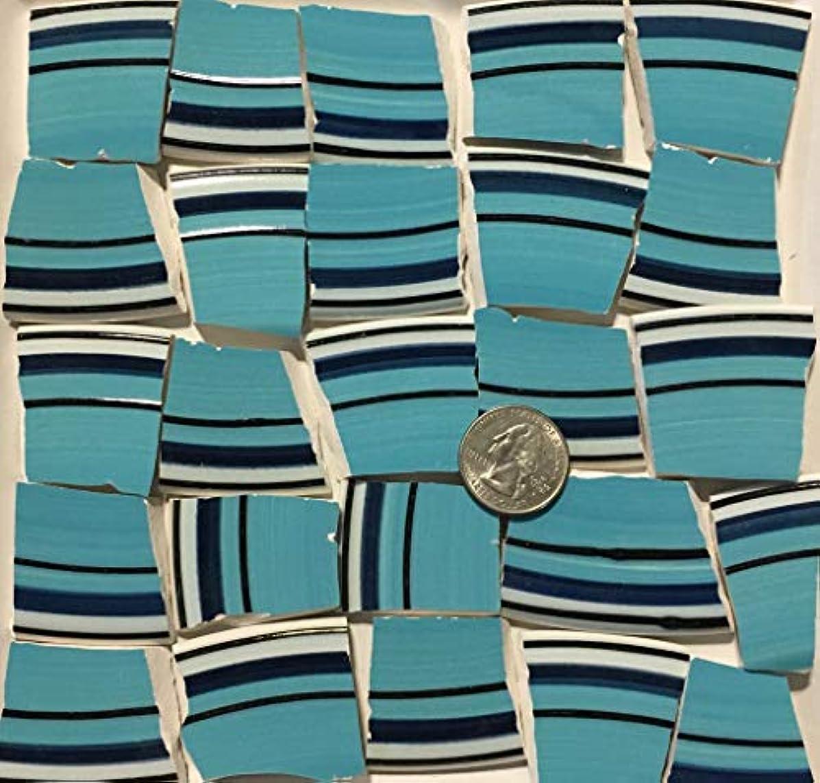 Mosaic Art & Crafts Supply ~ Turquoise Blue & Navy Rim Tiles (B746)