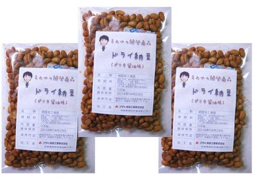 豆力 国内産 ドライ納豆(ピリ辛醤油味) 100g×3袋