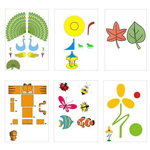 20 Stücke 3D Drucker Zeichnung Papier, Zeichnung Vorlage Papier Formen für 3D Druck Stift mit 40 Cartoon Muster Kinder DIY Geschenk - 6