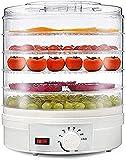 NKTJFUR Alimento deshidratador eléctrico Alimento Redondo deshidratador Grande 6 bandejas extraíbles Control de Temperatura Ajustable bocadillos Naturales saludables Frutos Secos