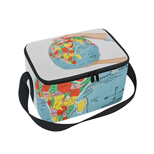 SKYDA Lonchera con Aislamiento de Mapa del Mundo en la Bola, Bolsa...
