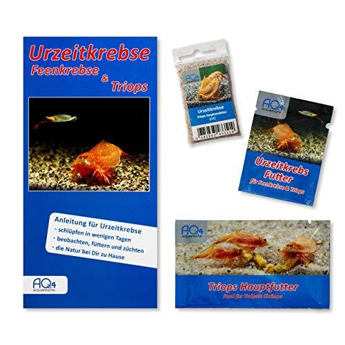 Starter Set Triops longicaudatus (rot) - Triops Eier - mit Urzeitkrebse Futter, Triops Hauptfutter und Anleitung - rote Amerikanische Schildkrebs