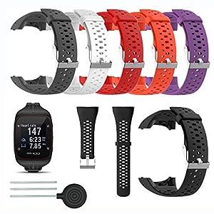 Saisiyiky Accesorio Reemplazo de Liberación Rápida Banda de Reloj de Silicona Suave Pulsera de Correa Deportiva para M400 / M430 GPS Reloj smartwatch(Negro)