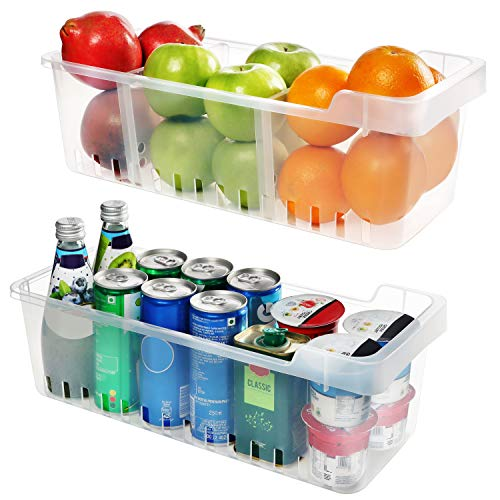 Organizador de Almacenamiento 2 Pcs- Almacenamiento para refrigerador -(40cmx12cmx16cm)– Organizador de Alimentos - Cestas de Plastico - Duradero Contenedores Apilables para Cocina, Despensa,