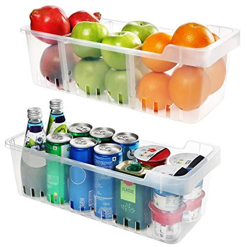 Kühlschrank Aufbewahrungsbox (2 Stück) - Kühlschrankschubladen (40cmx12cmx16cm) - Kühlschrank Organizer - Lebensmittel Aufbewahrungsbehälter fur Küchen, Regalen, Kühlschrank