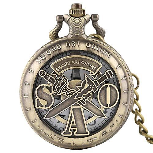DSHUJC Sword Art Online Reloj de Bolsillo de Cuarzo Colgante de Collar para niños Hombres Mujeres Cadena analógica Regalos Reloj de Bronce Fob