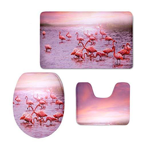 RedBeans Anti-Rutsch 3-teiliges Soft Absorbent Badteppich Set Flamingo Badematte Kontur und WC-Bezug
