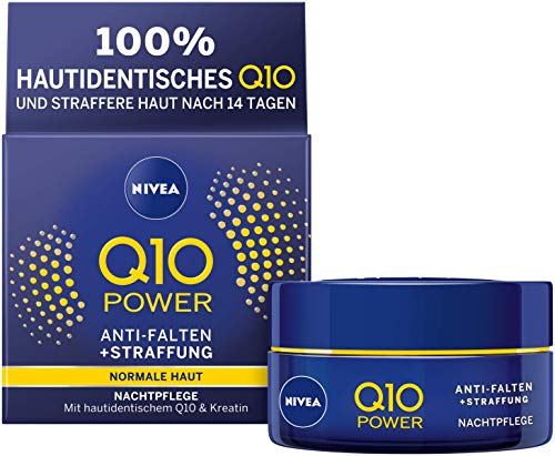 NIVEA Q10 Power Anti-Falten + Straffung Nachtpflege für jünger aussehende Haut, regenerierende Nachtcreme, 50ml