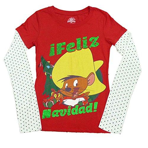 Looney Tunes Speedy Gonzales Womens Red Feliz Navidad Long Sleeve T-Shirt M