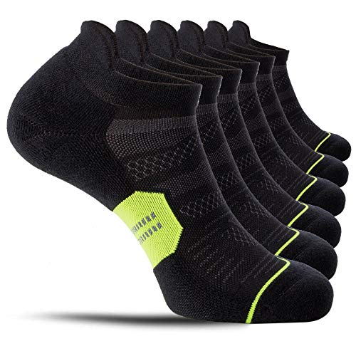 CelerSport 6 Pack Running Ankle Socks for Men and Women with Cushion, Low Cut Athletic Sport Tab Socks, Black + Green, Medium