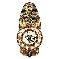 Design Toscano Medinet Habu Egyptian Wall Clock Sculpture, 40 Inch, Gold Leaf