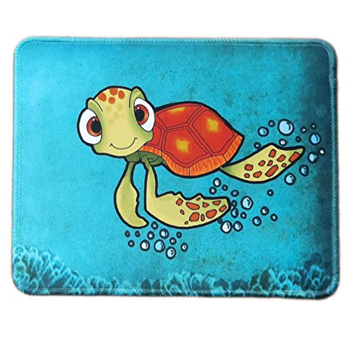 HEVITDA Mouse Pad, Square Cute Turtle Pattern Premium-Textured Mouse Mat, Gaming Mouse Pad, Non-Slip Rubber Base Rectangle Mousepad with Delicate Stitched Edge for Laptop, Computer & PC, Green Turtle