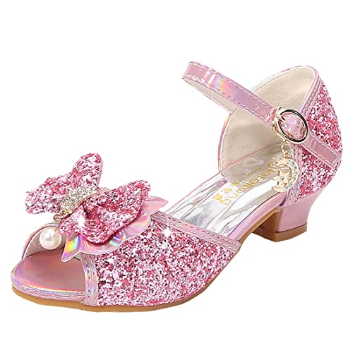 YOSICIL Zapatos Princesa Lentejuelas Niñas Arco Zapatitos De Tacón Disdraz Sandalias para Vestir Sirena Fiesta Baile Cosplay Cumpleaños Actuación