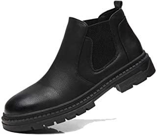2019 Mens New Lace-up Flats Mens Chelsea Boots for Men High Top Shoes Round Toe Pull On Elastic Bands Synthetic Leather Casual Grain Anti-Slip Solid Color Comfortable Soft Black
