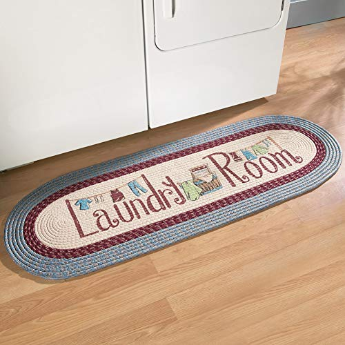 "Collections Etc 20""x48"" Braided Laundry Room Floor Runner Rug, Blue"