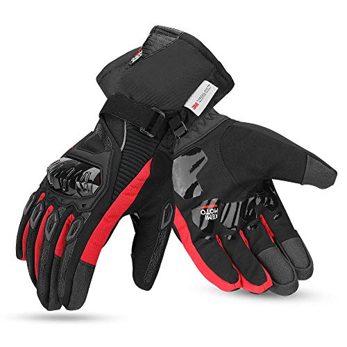 kemimoto Winter Motorcycle Gloves, Waterproof Warm Motorcycle Gloves for Men with Hard Knuckle Protection Touchscreen Gloves for Winter Riding, ATV, Scooter, Snowmobile - Red, Medium