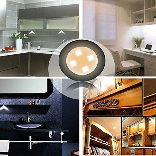 Xcellent Global Lampada notturna 4 LED a pulsante Touch Push, batteria, con adesivo, perfetta per armadi, armadietti, credenze, guardaroba, corridoi, camere da letto, bagno, nera LD099B