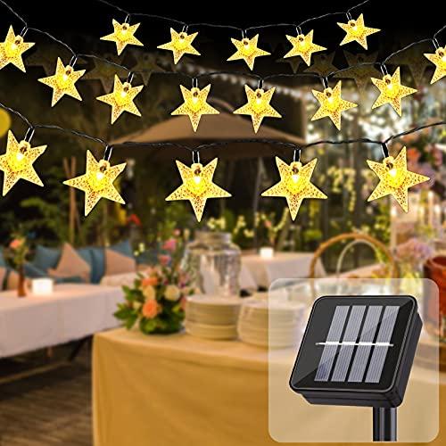 TCJJ Solar Garden Lights Outdoor ,23Ft 50 LED Star Solar Fairy Lights Waterproof Solar Powered Garden Light Star String Lights Festival Light for Garden Patio Yard Home Wedding Party Decoration