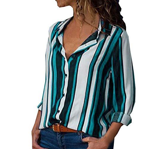 MORCHAN ❤ Chemisier Champion Femme Manches Longues Tunique Button Up Shirt Rayé Chemise Col V Top Chimie Blouse Mode Multicolore Chic Chemisier Classique Top(FR-38/CN-S,Multicolore)