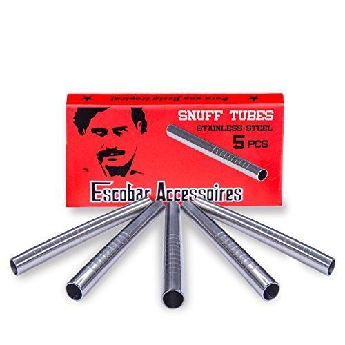 Escobar Accessoires 5 Tubi in Acciaio Inossidabile per sniffare 60 mm per Tabacco da fiuto