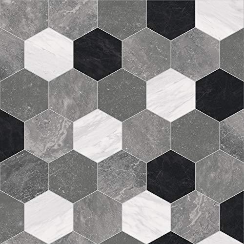 247Floors Forli Tile Effect Vinyl Flooring 2.3mm Realistic Foam Backed Slip Resistant Lino (2m x 4m / 6ft 6' x 13ft 1', Grey Hexagon Tiles)