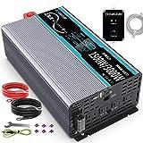 正弦波 インバーター 1500W 12Vを100Vに変換 50hz/60hz切り替え可能 瞬間最大3000W 2USBポート付き ACコンセント 3口 リモコン付き