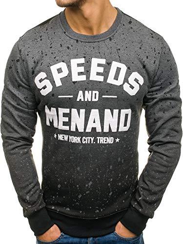 BOLF Herren Sweatshirt Pullover Aufdruck J.Style DD12 Dunkelgrau XXL [1A1]