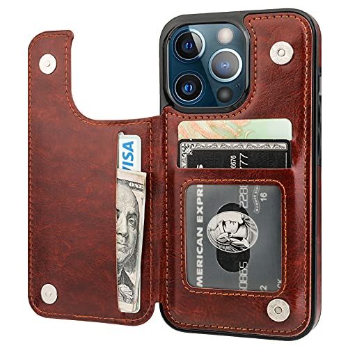 ONETOP Compatible with iPhone 13 Pro Wallet Case with Card Holder, PU Leather Kickstand Card Slots Case, Double Magnetic Clasp Durable Shockproof Cover 6.1 Inch(Brown)