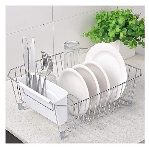 IKEBANA - Escurreplatos de cocina (acabado cromado, con soporte extraíble de plástico blanco)