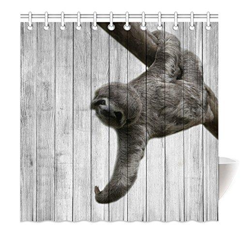 YISUMEI Hem Gewichte Vorhang Duschvorhang 160x180 cm Faultier Baum Holzmaserung