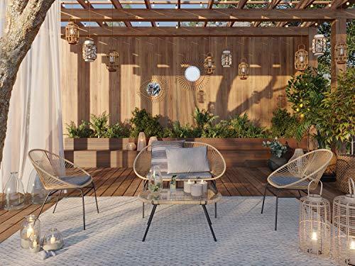 ELLE DECO Salon de Jardin 4 Places en Corde piètement métal - Collection Norma