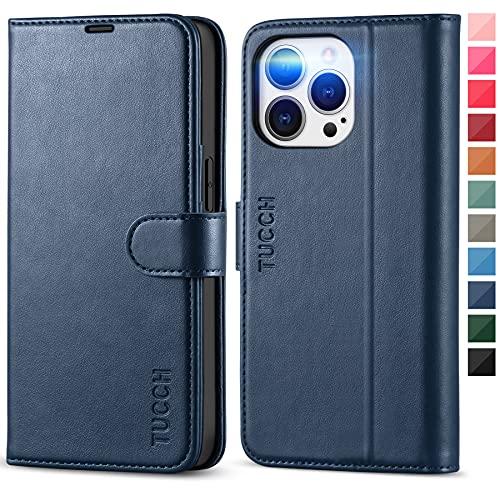 TUCCH Funda Compatible con iPhone 13 Pro, Funda Piel de iPhone 13 Pro, Funda de Cuero PU con Bloqueo RFID, Cáscara de TPU, Tarjetero, Soporte, Funda Tapa para iPhone 13 Pro 5G(6.1', 2021), Azul Oscuro