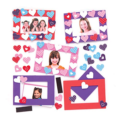 Baker Ross Heart Mix & Match Photo Frame Magnet Kits (Pack of 6) for Kids to Assemble, Display or Gift for Mother's Day / Valentine's Day