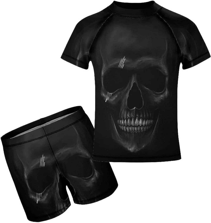 Yiaoflying Kids Boys 2 Piece Swim Set - Dark Skull Rash Guard Swimsuit Trunks
