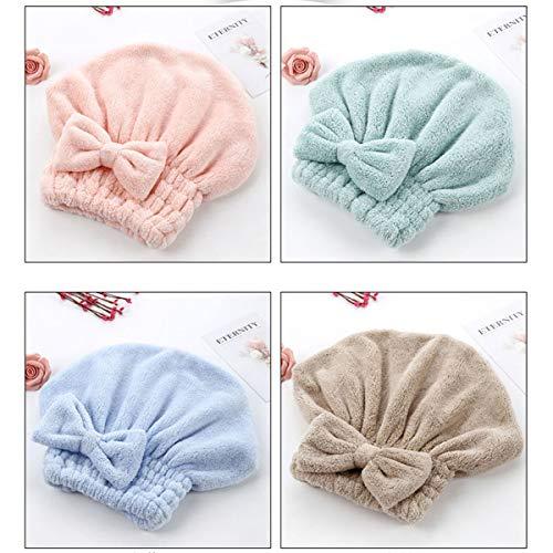 Lurrose 4pcs chapeau de séchage de cheveux de toison de corail élastiques chapeau de douche bowknot épaississent le chapeau de cheveux de bain (rose + bleu + café + vert)