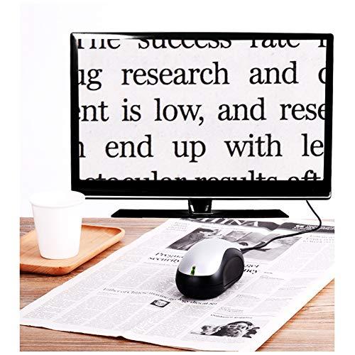 TXDWYF Elektronische Lesehilfe Maus Magnifiers/Leselupen für Sehbehinderte/Leselupen für Senioren Rechteckig,Silber